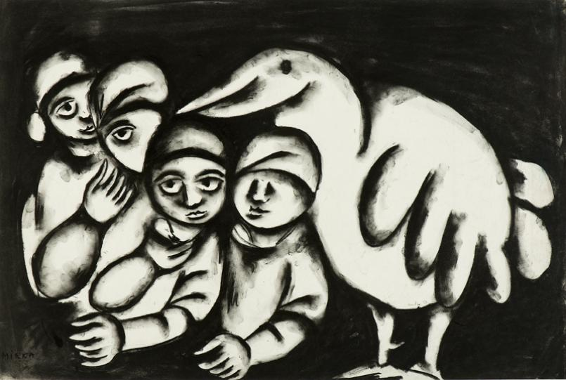 Mirka Mora, Bird with Brood 1958, charcoal on paper, 49 x 76 cm, Courtesy the artist and William Mora Galleries, Melbourne, © Estate of Mirka Mora