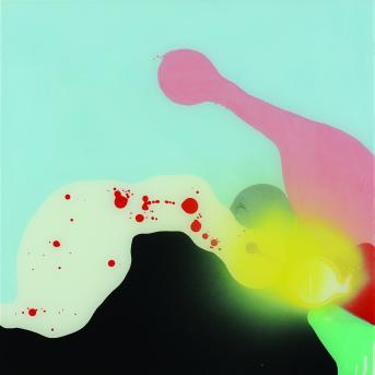 Louise Paramor, Lovers 2008, oil and synthetic polymer paint on glass, 60 x 60 cm, Heide Museum of Modern Art, Purchased through the Heide Foundation 2009, Courtesy of the artist