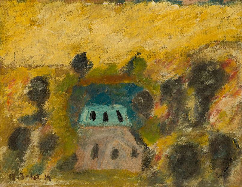 Sidney Nolan, Golden Landscape 1942, oil on hessian on plywood, 38.6 x 50.6 cm, Heide Museum of Modern Art, Melbourne, Bequest of John and Sunday Reed 1982, © Sidney Nolan Trust