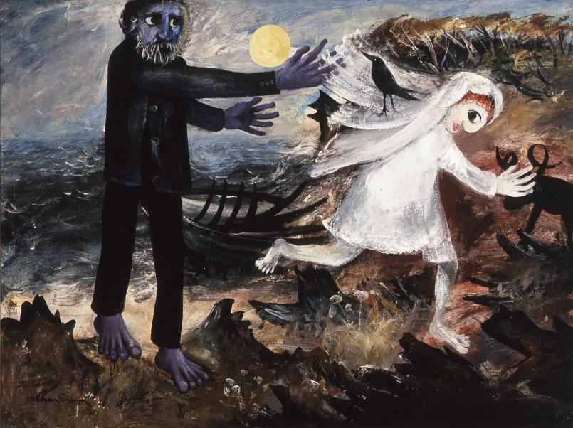 Arthur Boyd, Bride Running Away 1957, oil and tempera on composition board, 91.5 x 121.5 cm, Private Collection, Courtesy of Sotheby's Australia, © Bundanon Trust