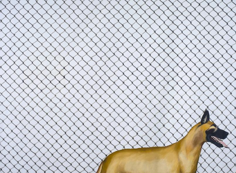 Jenny Watson, Cyclone Fence with Great Dane 1972, oil and acrylic on ten ounce cotton duck, Courtesy and © the artist, Photograph: Carl Warner