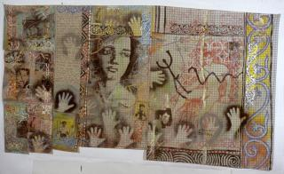 David McDiarmid, So I walked into the Theatre 1984-85, fabric paint, acrylic and embroidery on patchword cotton, 290 x 160 cm, Heide Museum of Modern Art, Gift of the Estate of David McDiarmid 1998, © The Estate of David McDiarmid