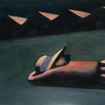 Charles Blackman, Prone Schoolgirl 1953, enamel on hardboard, 79 x 93.5 cm, Heide Museum of Modern Art, Purchased from John and Sunday Reed 1980, Courtesy of the artist