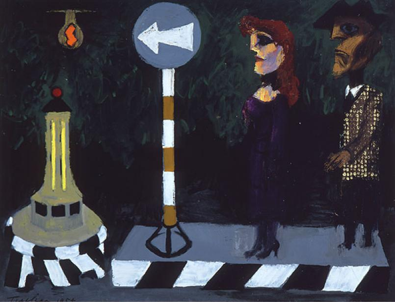 Albert Tucker, Bus Stop 1954, oil on composition board, 62 x 81 cm, Heide Museum of Modern Art, Melbourne, Gift of the Albert & Barbara Tucker Foundation 2017, © The Estate of Barbara Tucker. Courtesy of Sotheby's Australia