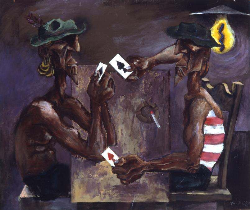 Albert Ticker, Card Players 1972, Oil on composition board, 77.5 x 92 cm, Heide Museum of Modern Art, Melbourne, Gift of Barbara Tucker 2005