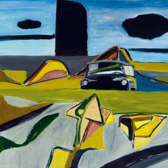 Ken Whisson, Imaginary America 1974-75, oil on composition board, 80.7 x 114.6 cm, Tarrawarra Museum of Art, Victoria, Gift of Eva and Marc Besen 2001, Courtesy of the artist