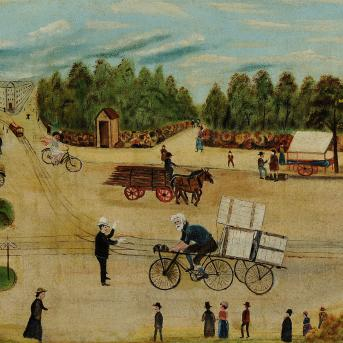 H. Dearing, Approach to Princes Bridge c.1925, oil on canvas on cardboard, 46 x 75 cm, Heide Museum of Modern Art, Purchased from John and Sunday Reed 1980