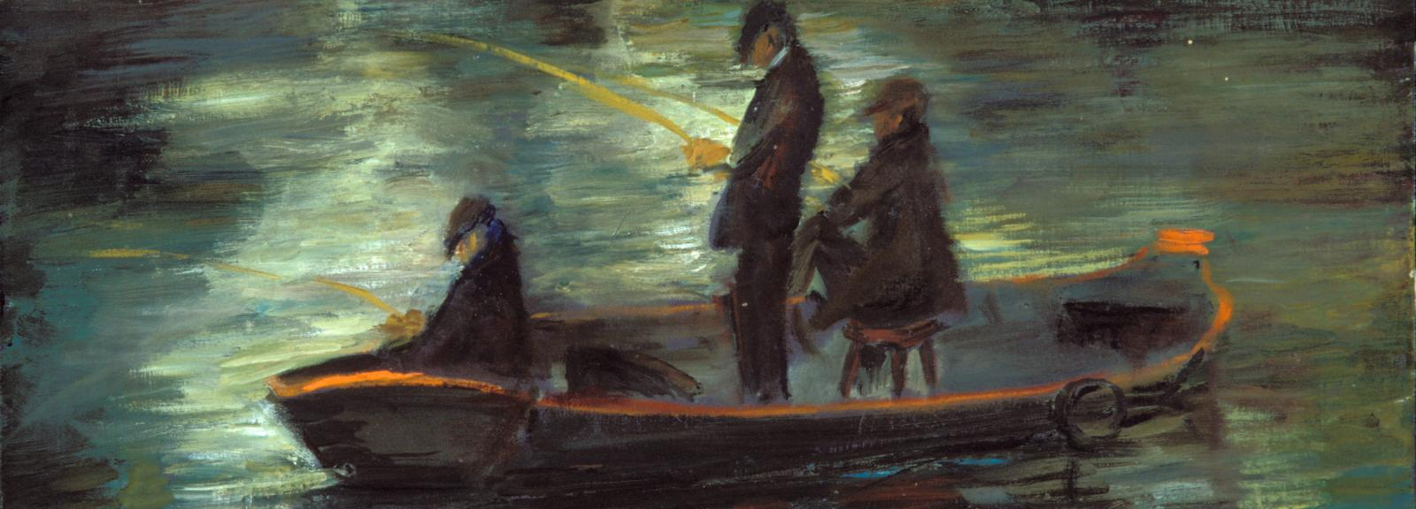 Moya Dyring, Fisherman c.1966, oil on canvas, 38.1 x 60.9 cm, Heide Museum of Modern Art, Bequest of John and Sunday Reed 1982, © Estate of Judith Innes Irons