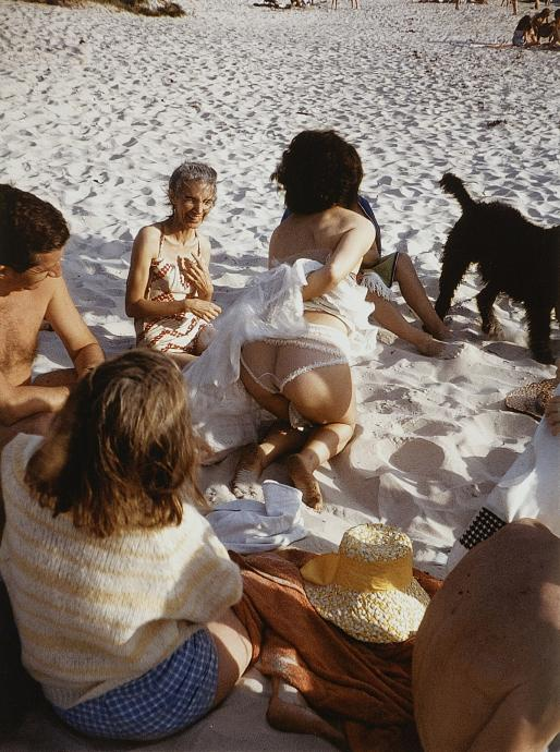 Albert Tucker, Mirka Mora Showing off her Frilly Knickers, Georges Mora, Lucy Beck, Sunday Reed at Aspendale 1961, type C photograph, 41.2 x 32.5 cm, Heide Museum of Modern Art, Melbourne, Gift of Barbara Tucker 2001