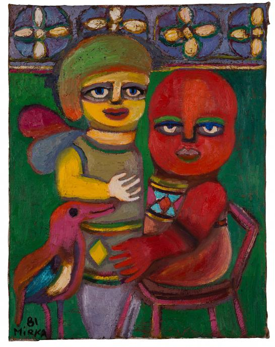 Mirka Mora, Angel with Child 1981, oil on canvas, 46 x 35.5 cm, Courtesy of the artist and William Mora Galleries, Melbourne