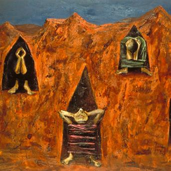 Albert Tucker, Mourning Disciples 1955, oil on composition board, 78.5 x 127 cm, Heide Museum of Modern Art, Donated through the Australian Cultural Gifts Program by Barbara Tucker 2015, Courtesy of Smith & Singer Fine Art, © Albert & Barbara Tucker Foundation
