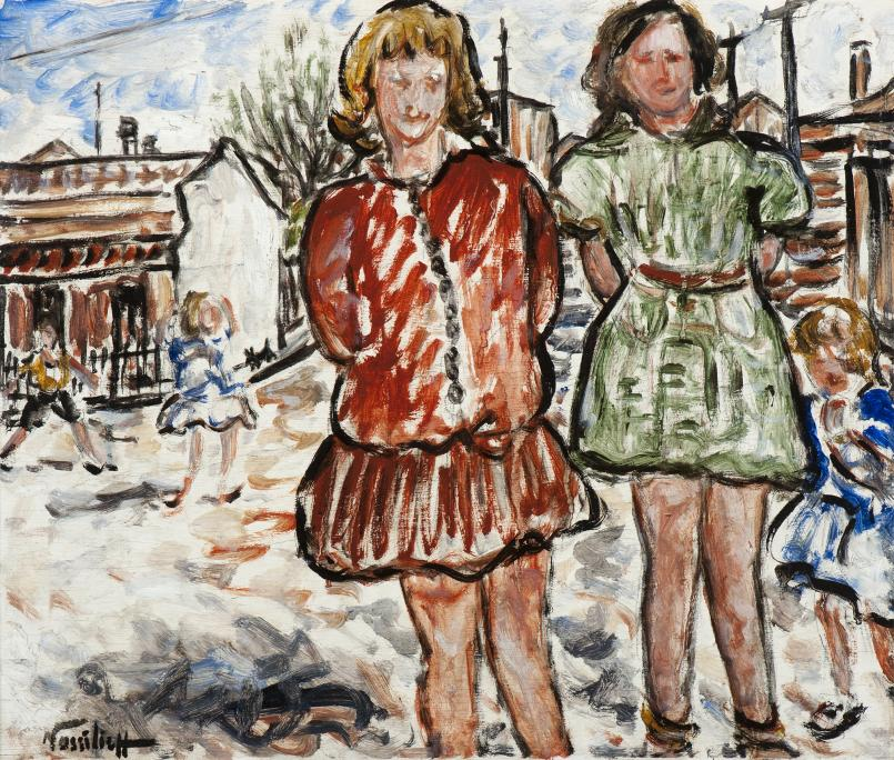 Danila Vassilieff, Valerie and Betty 1937, oil on plywood, 44.9 x 53.5 cm, Heide Museum of Modern Art, Melbourne, Purchased from John and Sunday Reed 1980