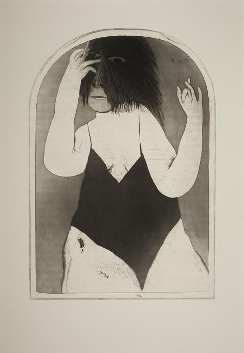 George Baldessin, The Mirror 1967, etching and aquatint, 50 x 34 cm, Heide Museum of Modern Art, Gift of Tess Gabriel and Ned Baldessin 2010, © Estate of George Baldessin