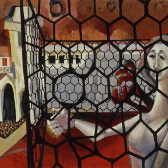 Erica McGilchrist, The Airing Court (Kew Mental Hospital) 1954, oil on composition board, 90.5 x 160 cm, Heide Museum of Modern Art, Gift of Erica McGilchrist 1999, © the artist