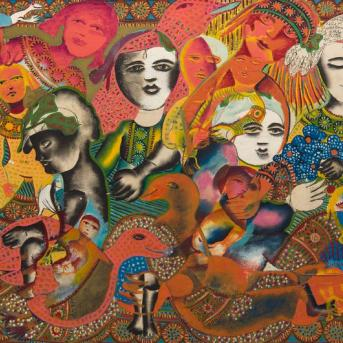 Mirka Mora, Untitled Mural (detail) c. 1966,, mixed media, 120 x 244 cm, image courtesy Leonard Joel, © William Mora Galleries