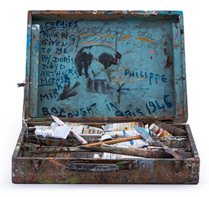 Paintbox bought by Mirka Mora to Australia from Paris in 1951, image courtesy of Leonard Joel