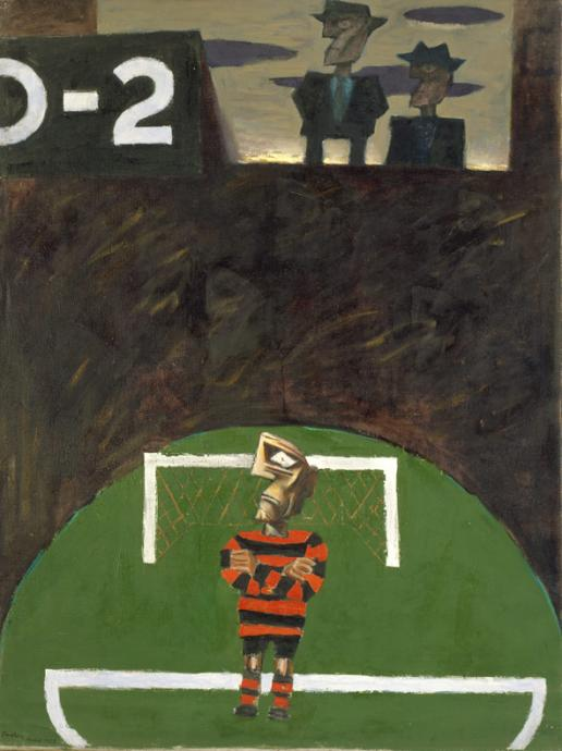 Albert Tucker, Goalkeeper 1955, oil on linen, 130 x 97 cm, Heide Museum of Modern Art, On loan from Barbara Tucker 2000, © Estate of Babara Tucker