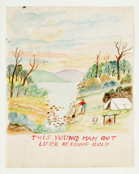 H. Dearing, This Young Man Got Luck He Found Gold c.1935, coloured pencils on paper, 25 x 20 cm, Heide Museum of Modern Art, Purchased with funds donated by Barbara Tucker 2013