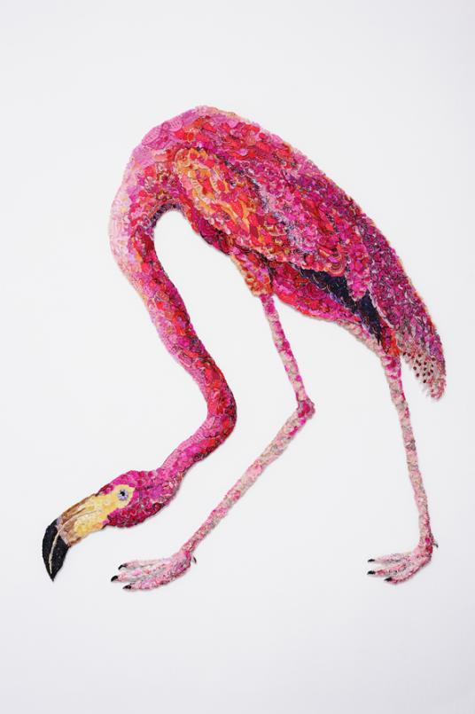 Louise Saxton, Flaming Flamingo 2011, reclaimed needlework, lace pins, nylon tulle, 96 x 78 cm, Courtesy of the artist, Photograph: Gavin Hasford