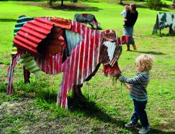 Jeff Thomson, Cows 1987, painted corrugated iron