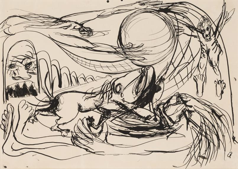 Arthur Boyd, Prostrate Figure, Dog and Flying Figures c.1943, pen and ink on paper, 36.4 x 25.8 cm, Heide Museum of Modern Art, Melbourne, Bequest of John and Sunday Reed 1982, © Bundanon Trust