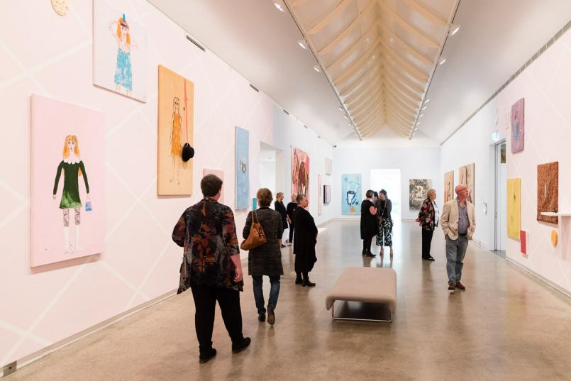 Jenny Watson: The Fabric of Fantasy installation view, Heide Museum of Modern Art, Melbourne, Photograph: Andrew Hobbs