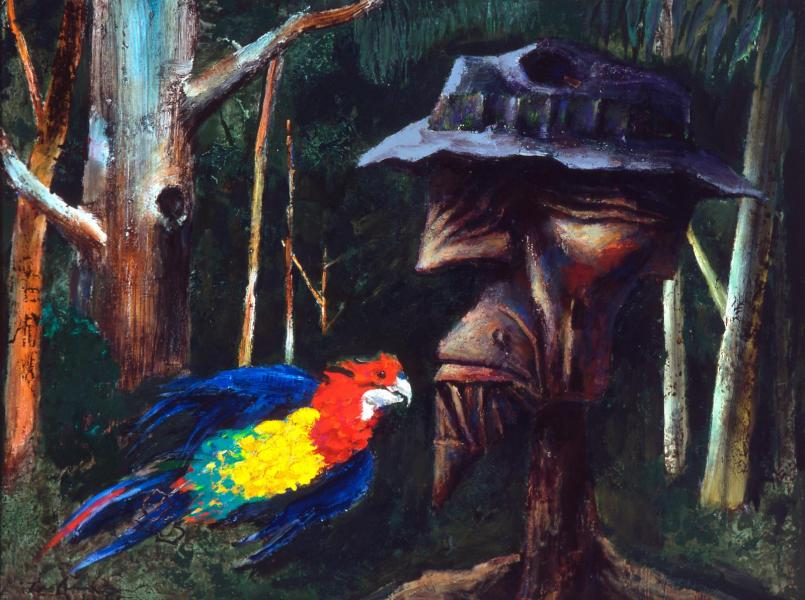Albert Tucker, Explorer and Parrot 1963, oil on composition board, 89 x 120.5 cm, Heide Museum of Modern Art, Melbourne, Gift of Barbara Tucker 2000, Courtesy of Sotheby's Australia, © Estate of Barbara Tucker
