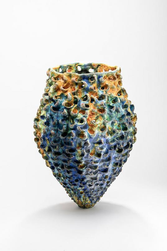 Simone Fraser, Landscrapes Series 2019, dry glaze, mid fired ceramic, 60 x 40 cm diam, Courtesy of the artist and Sabbia Gallery, Sydney, photograph: Greg Piper