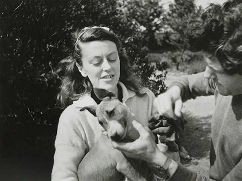 Albert Tucker, Sunday Reed Holding One of the Dogs, with John Reed c. 1943, gelatin silver photograph, 26.5 x 35.5 cm, Heide Museum of Modern Art, Melbourne, Gift of Barbara Tucker 2001