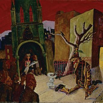 Albert Tucker, We are the Dead Men 1940, oil on cardboard, 47 x 51.5 cm, National Gallery of Australia Canberra, Gift of the artist 1993