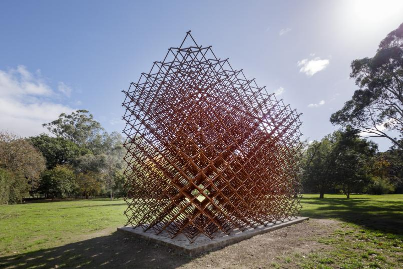 Neil Taylor, Theoretical Matter 1999-2000, welded steel, 320 x 304 x 390 cm, Heide Museum of Modern Art, Mapping and Reflection: A Garden Transformed, initiated through Arts Victoria's Victoria Commissions Program, funded by the Community Support Fund of the Victorian Government