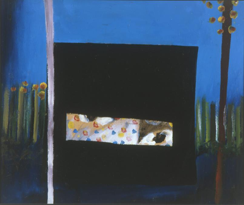 Sidney Nolan, Ned Kelly 'Nobody knows anything about my case but myself 1945, enamel on cardboard, 64 x 76 cm, Heide Museum of Modern Art, Purchased with funds provided by the Friends of the Museum of Modern Art at Heide and the Heide Circle of Donors 1998, © The Sidney Nolan Trust