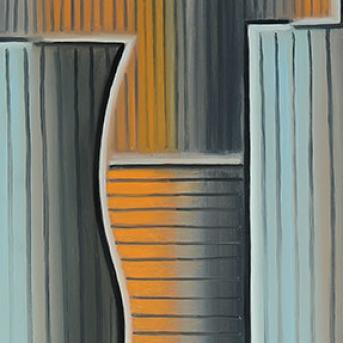 Paul Boston, Painting with blue and orange 1999, oil on linen, 122 x 137 cm, Heide Museum of Modern Art, © Paul Boston