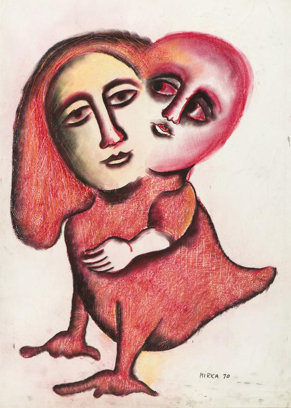 Mirka Mora, Mother and Child on Bird 1970, pastol and charcoal on paper, 73 x 52 cm, Courtesy of the artist and Willam Mora Galleries, Melbourne