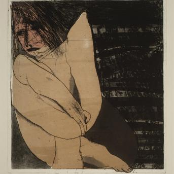 George Baldessin, Seated Figure 1973, colour etching and aquatint, 56.2 x 50.5 cm, Heide Museum of Modern Art, Gift of Tess, Gabriel and Ned Baldessin 2010, © Estate of George Baldessin
