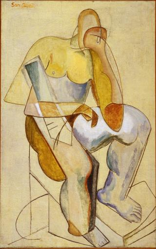 Sam Atyeo, The Thinker 1933-35, oil on burlap on canvas, 92 x 57.5 cm, Heide Museum of Modern Art, Purchased from John and Sunday Reed 1980, © Mrs Sam Atyeo