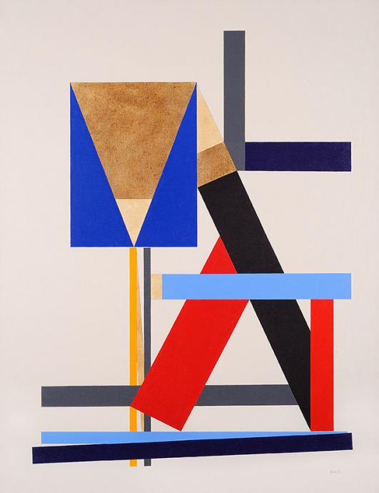 George Johnson, Construction With Brown Triangle 1986, acrylic on canvas, 186 x 140 cm, Courtesy of the artist and Charles Nodrum Gallery
