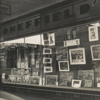 Sidney Nolan's exhibition at Sheffield's Newsagency, Heidelberg, Melbourne 1942, archival photograph, John and Sunday Papers, State Library Victoria, Melbourne