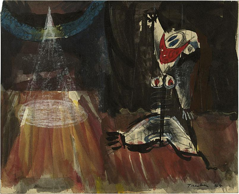 Albert Tucker, At the Tiv 1944, watercolour and pastel on paper sheet, 20.2 x 25 cm, National Gallery of Australia, Canberra, Purchased 1976, © Estate of Barbara Tucker