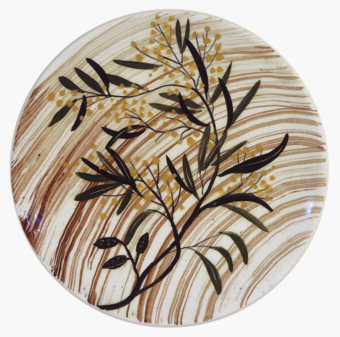 Merric Boyd, Plate with Wattle Design c.1955, Glazed porcelain with hand painted underglaze, 2.1 x 18.6 cm, Heide Museum of Modern Art, Purchased 2001, © Bundanon Trust