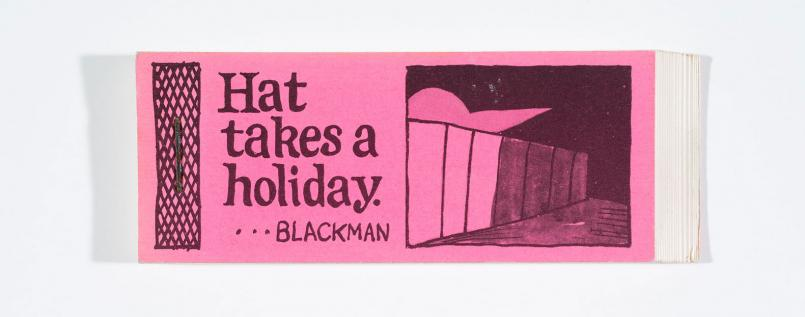 Charles Blackman, Hat Takes A Holiday 1954, printed 1979, offset lithograph artist flipbook, 4.8 x 12.9 cm, Heide Museum of Modern Art Archive