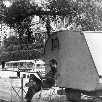 Albert Tucker outside his caravan on the Siene, Paris 1952, Photographer unknown, Albert Tucker Archive, Heide Museum of Modern Art