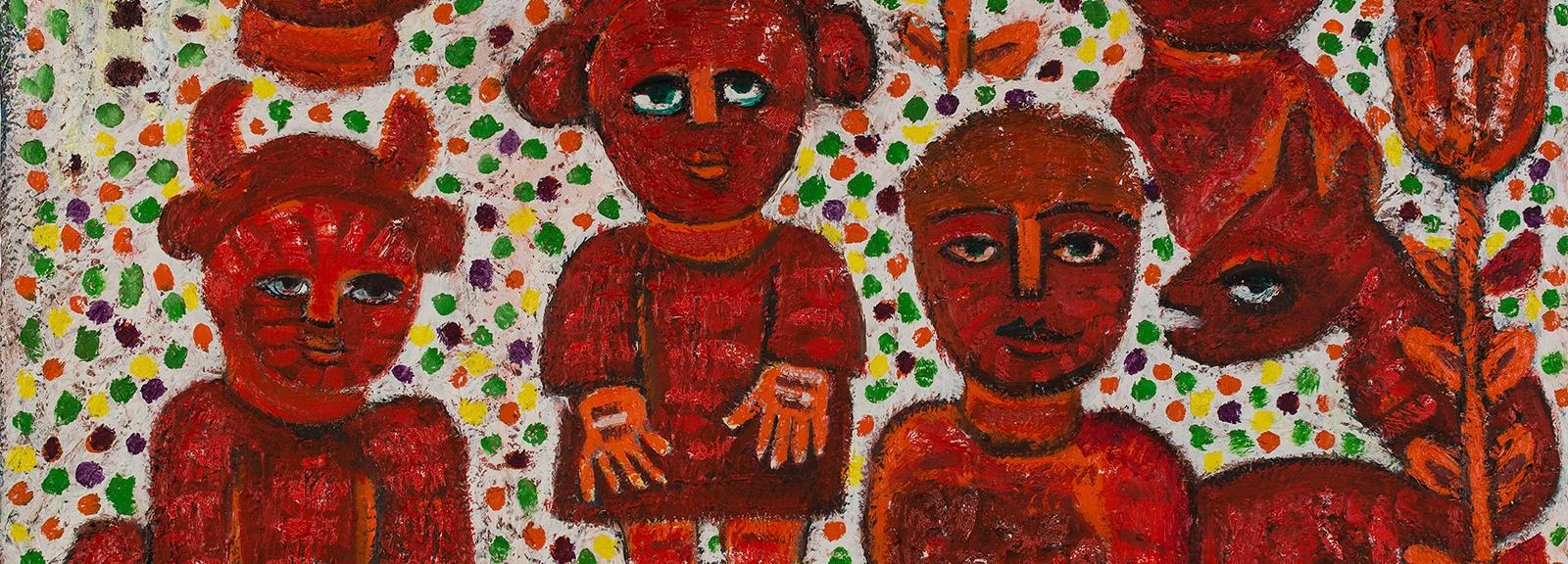 Mirka Mora, She Devils and Friends 1989–95, oil on canvas, 76 x 101.5 cm, Courtesy of the artist and William Mora Galleries, Melbourne, © the artist