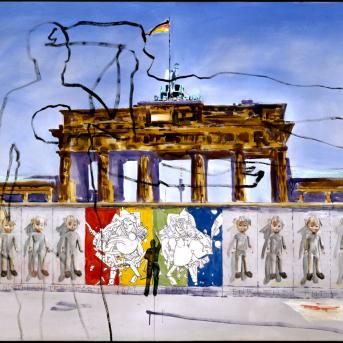 Gunter Christmann (Krimhilde, Die Mauer/The Wall/Le Mur 1989, acrylic on canvas, 168 x 243 cm, Monash University Collection Melbourne, Purchased 1989
