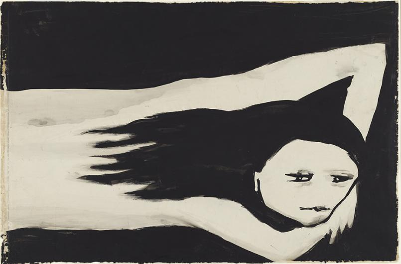 Joy Hester, Girl 1957, brush and ink on paper, 49.9 x 75.5 cm, National Gallery of Australia, Canberra, Purchased 1972, © Joy Hester/Copyright Agency 2020