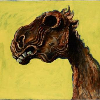 Albert Tucker, Apocalyptic Horse 1956, oil on hardboard, 62 x 81 cm, Art Gallery of New South Wales, Sydney Purchased 1982, Courtesy of Sotheby's Australia, ? Albert & Barbara Tucker Foundation