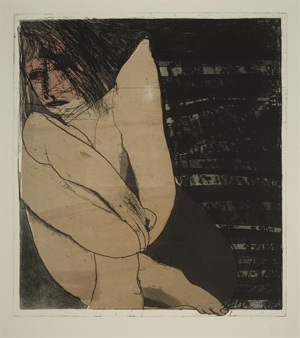 George Baldessin, Seated Figure 1973, colour etching and aquatint plate, 56.2 x 50.5 cm, Heide Museum of Modern Art, Gift of Tess, Gabriel and Ned Baldessin 2010, © Estate of George Baldessin