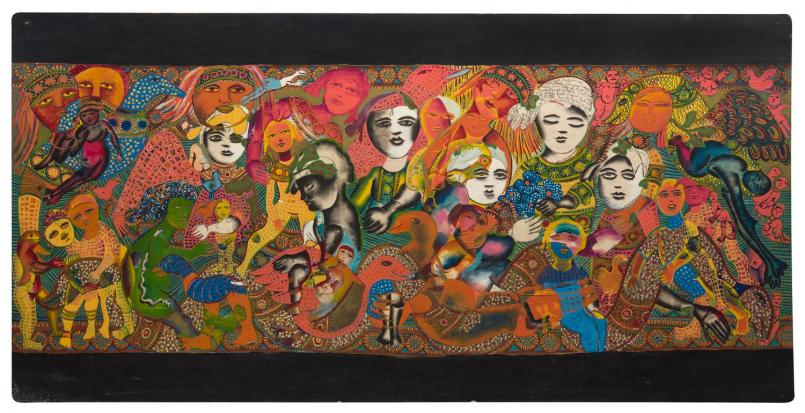 Mirka Mora, Untitled Mural c. 1966, mixed media, 120 x 244 cm, image courtesy Leonard Joel, © William Mora Galleries