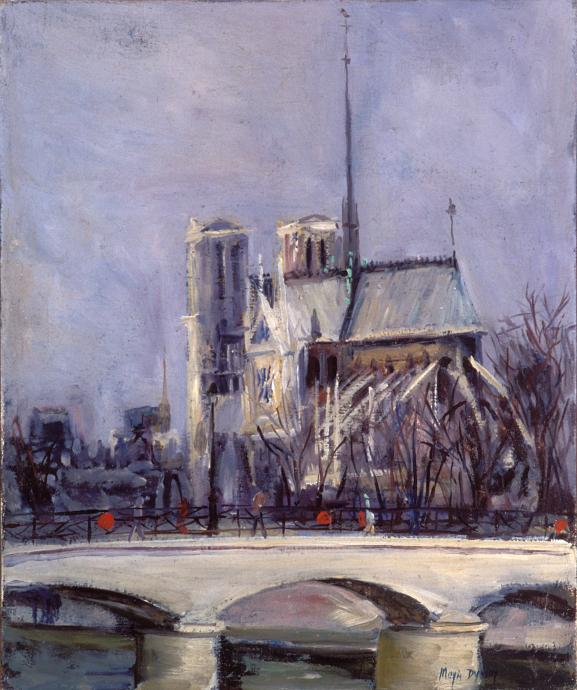 Moya Dyring, Notre Dame c. 1950, oil on canvas on cardboard, 45 x 37 cm, Gift of the Trustees of the Museum of Modern Art and Design of Australia, Transferred to Heide Museum of Modern Art by the Council of Trustees of the National Gallery of Victoria 2005, © Estate of Judith Innes Irons