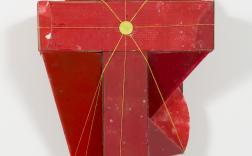 Rose Nolan, A Red Constructed Work 1992-93, synthetic polymer paint, oil paint, cardboard, perspex, tin lid and nylon cord, 32 x 84 x 63 cm, Heide Museum of Modern Art, Melbourne, Gift of Rose Nolan 2014